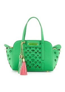 Betsey Johnson Open Your Heart Faux-Leather Crossbody Bag, Green