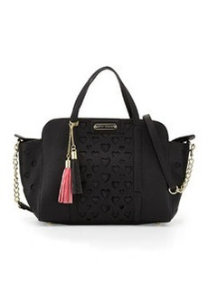 Betsey Johnson Open Your Heart Faux-Leather Satchel Bag, Black