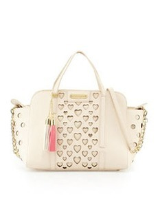 Betsey Johnson Open Your Heart Faux-Leather Satchel Bag, Cream