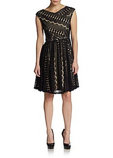 Betsey Johnson Patterned Lace Zigzag Dress