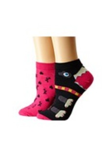 Betsey Johnson Patterned Puppy Love No Show Sock 2-Pack