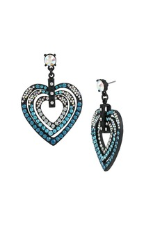 BETSEY JOHNSON Pave Heart Drop Earrings