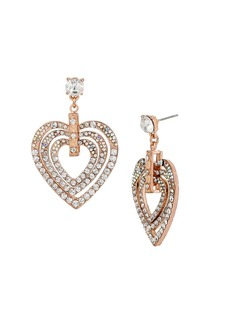BETSEY JOHNSON Pave Heart Drop Earrings, Rose Goldtone