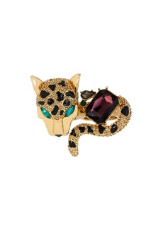 BETSEY JOHNSON Pave Leopard Two-Finger Ring