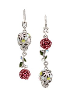 BETSEY JOHNSON Pave Skull and Rose Double Drop Earring