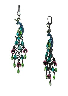 BETSEY JOHNSON Peacock Chandelier Drop Earrings