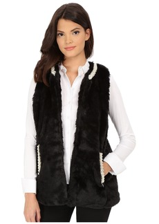 Betsey Johnson Pearl Trim Cozy Mink Long Vest