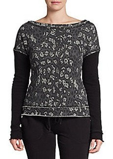 Betsey Johnson Performance Animal Printed Dropped Shoulder Sweater