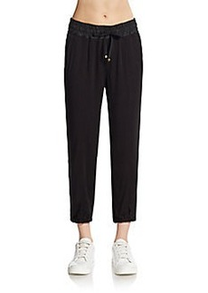 Betsey Johnson Performance Faux Leather-Trimmed Cropped Track Pants