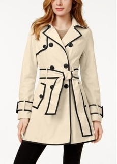 Betsey Johnson Petite Corset-Back Skirted Trench Coat