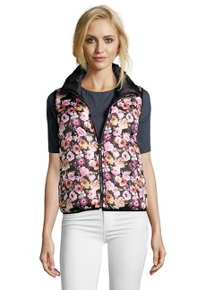 Betsey Johnson pink and black floral print reversible puffer ...