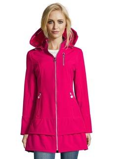 Betsey Johnson pink water resistant zip front hooded rain ...