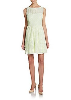 Betsey Johnson Pleated Illusion Lace Dress