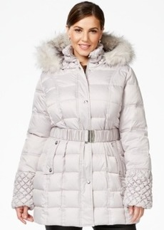 Betsey Johnson Plus Faux-Fur-Trim Quilted Belted Puffer Coat