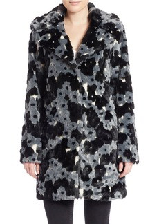 BETSEY JOHNSON Plus Floral Faux Fur Coat