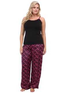 Betsey Johnson Plus Luscious Knit And Satin Pajama Set 739806X
