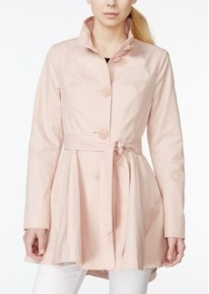 Betsey Johnson Petite Belted Rose-Button Trenchcoat