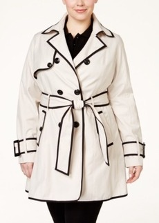 Betsey Johnson Plus Size Corset-Back Skirted Trench Coat
