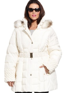 Betsey Johnson Plus Size Faux-Fur-Trim Hooded Quilted Puffer Coat