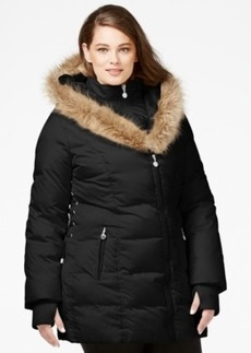 Betsey Johnson Plus Size Faux-Fur-Trim Quilted Puffer Coat