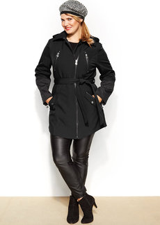 Betsey Johnson Plus Size Hooded Faux-Leather-Trim Belted Coat