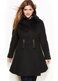 Betsey Johnson Plus Size Wool-Blend Faux-Fur Corset Flared Coat