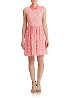 BETSEY JOHNSON Point Collar Fit and Flare Dress