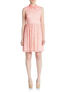 Betsey Johnson Point Collar Lace Fit-&-Flare Dress