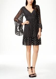 Betsey Johnson Polka-Dot Bell Sleeve Dress