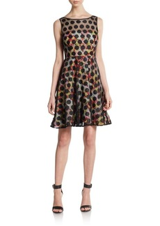 Betsey Johnson Polka Dot Mesh & Floral-Print Illusion Dress