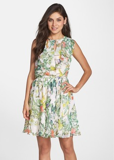 Betsey Johnson Print Cascade Chiffon Blouson Dress