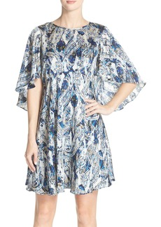 Betsey Johnson Print Chiffon Flutter Sleeve Babydoll Dress