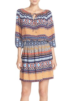 Betsey Johnson Print Crêpe de Chine Blouson Dress