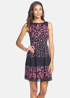 Betsey Johnson Print Mixed Media Fit & Flare Dress