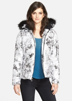 Betsey Johnson Print Puffer Jacket with Detachable Faux Fur (Online Only)