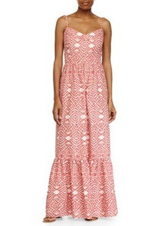 Betsey Johnson Printed Maxi Dress w/ Prairie Skirt, Coral