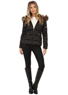 Betsey Johnson Puffer with Faux Fur Trim