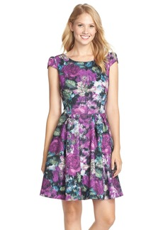 Betsey Johnson Quilted Floral Knit Fit & Flare Dress