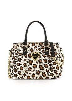 Betsey Johnson Quilted Leopard-Print Satchel, Neutral