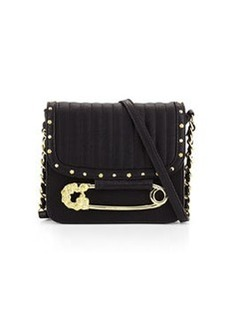 Betsey Johnson Quilted Safety Pin Crossbody Bag, Black