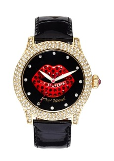 Betsey Johnson Red Lip Dial Patent Leather Strap Watch, 41mm