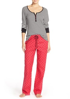 Betsey Johnson Ribbed & Flannel Pajamas