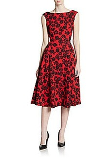 Betsey Johnson Rose Jacquard Midi Dress
