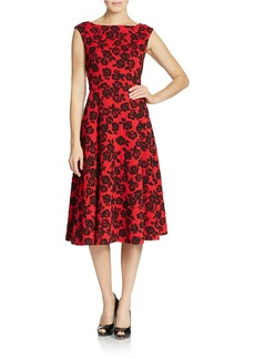 BETSEY JOHNSON Rose Lace Fit-And-Flare Midi Dress