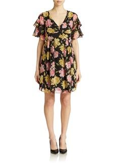 BETSEY JOHNSON Rose-Print Chiffon Fit and Flare Dress