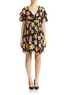 BETSEY JOHNSON Rose-Print Chiffon Fit and Flare Dress