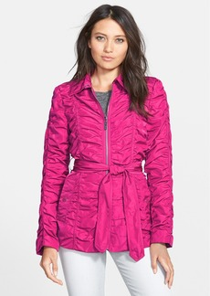 Betsey Johnson Ruched Belted Zip Front Jacket