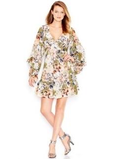 Betsey Johnson Ruffle-Trim Printed Babydoll Dress