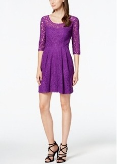 Betsey Johnson Scoop-Neck Lace Fit & Flare Dress