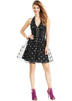 Betsey Johnson Sequin Dot Metallic Halter Dress